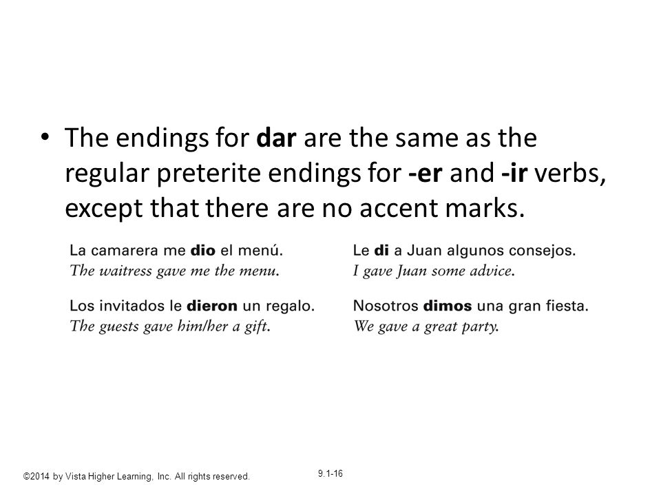 9.1-16 The endings for dar are the same as the regular preterite endings for -er and -ir verbs, except that there are no accent marks.