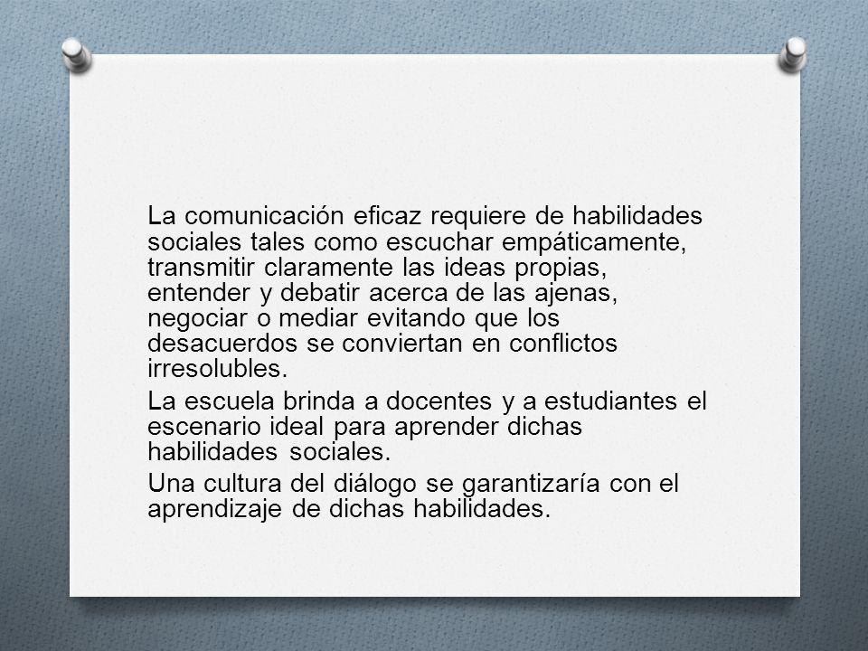 La comunicación eficaz requiere de habilidades sociales tales como escuchar empáticamente, transmitir claramente las ideas propias, entender y debatir
