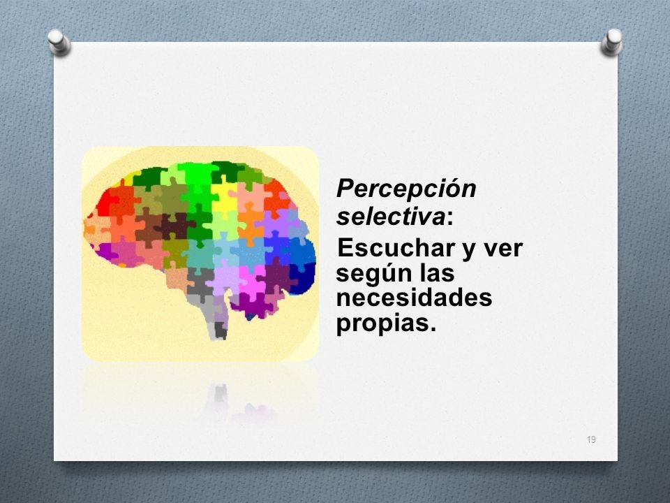 Percepción selectiva: Escuchar y ver según las necesidades propias. 19