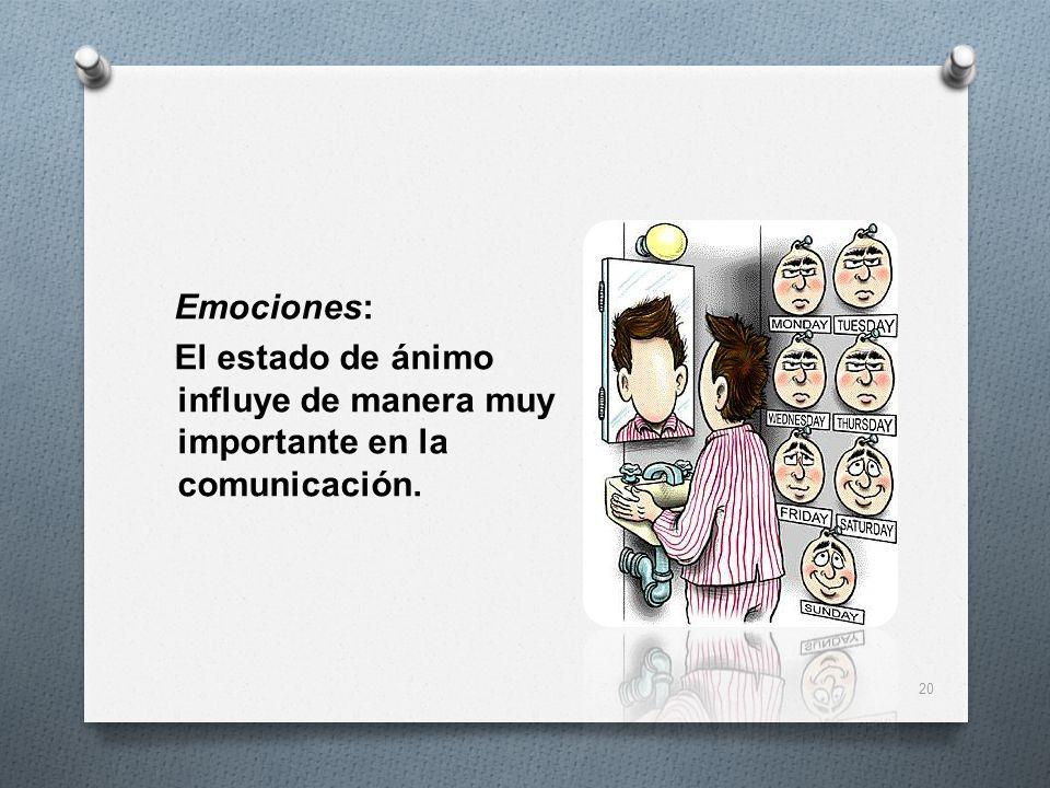 Emociones: El estado de ánimo influye de manera muy importante en la comunicación. 20
