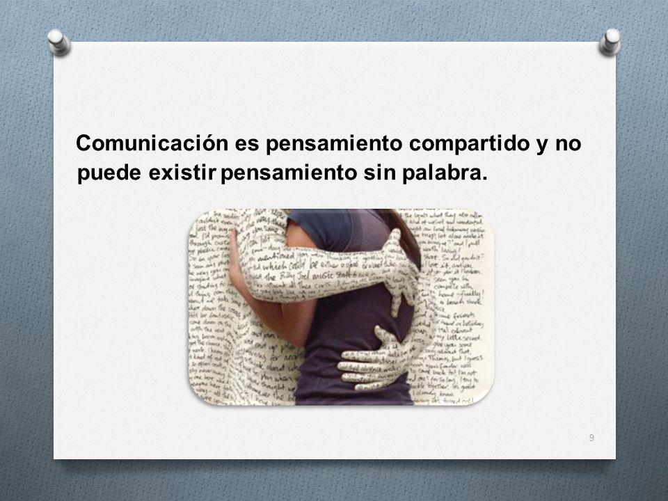 Comunicación es pensamiento compartido y no puede existir pensamiento sin palabra. 9