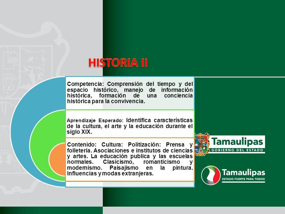 Competencia: Comprensión del tiempo y del espacio histórico, manejo de información histórica, formación de una conciencia histórica para la convivenci