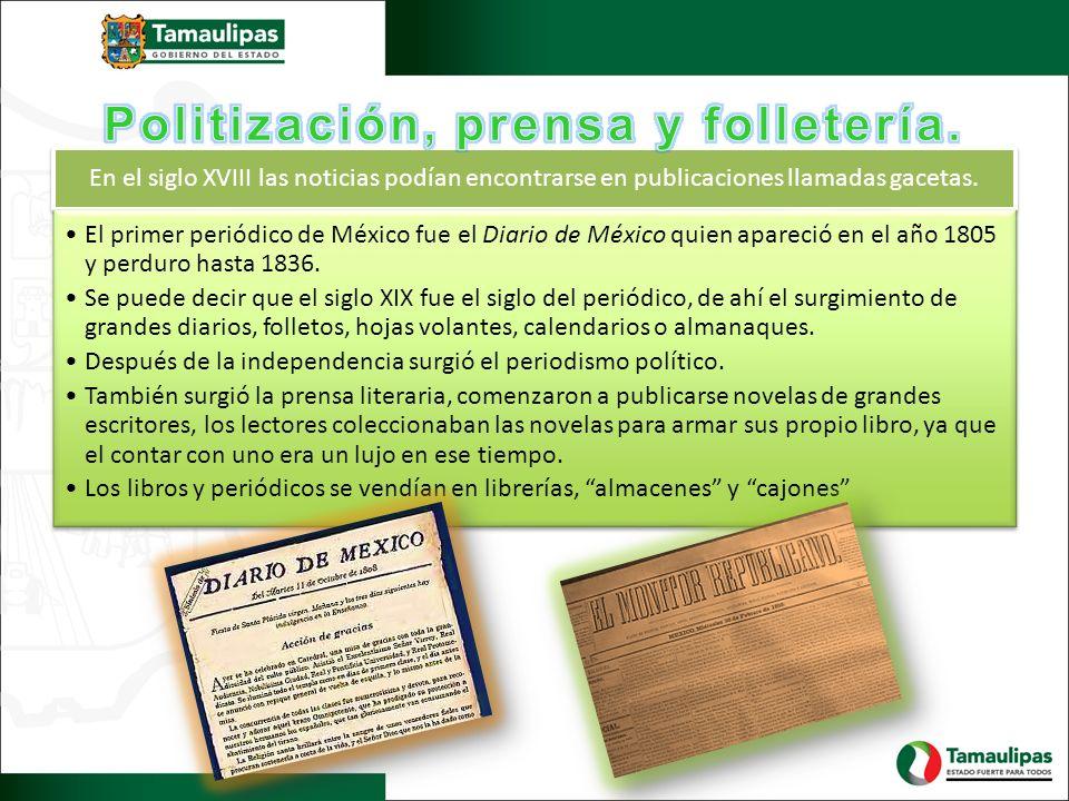 En el siglo XVIII las noticias podían encontrarse en publicaciones llamadas gacetas. El primer periódico de México fue el Diario de México quien apare