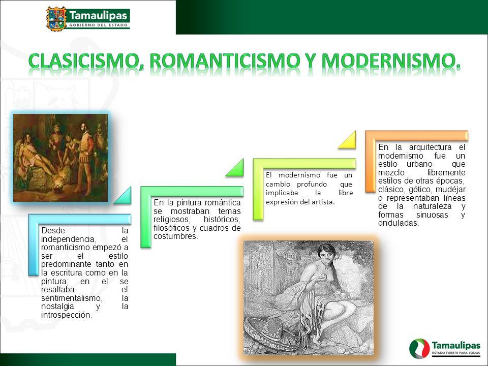 Desde la independencia, el romanticismo empezó a ser el estilo predominante tanto en la escritura como en la pintura; en el se resaltaba el sentimenta