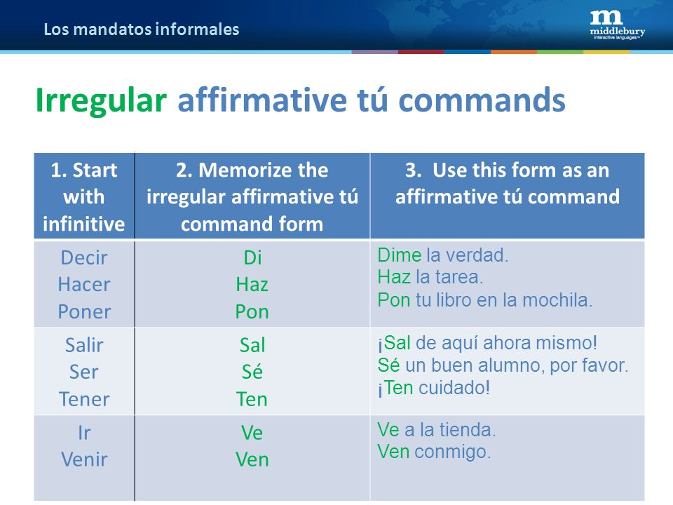 Los mandatos informales 1. Start with infinitive 2. Memorize the irregular affirmative tú command form 3. Use this form as an affirmative tú command D