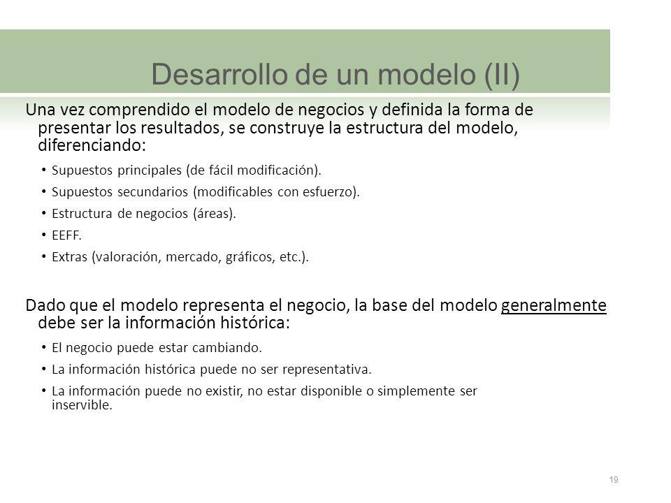 Desarrollo de un modelo (II) Una vez comprendido el modelo de negocios y definida la forma de presentar los resultados, se construye la estructura del