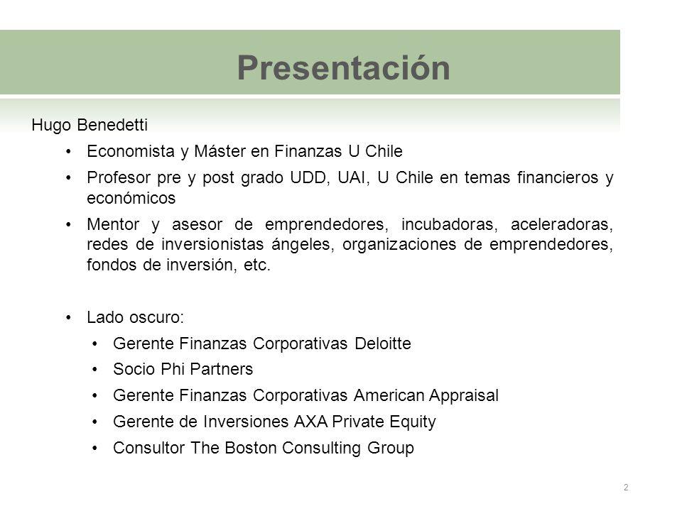 Presentación Hugo Benedetti Economista y Máster en Finanzas U Chile Profesor pre y post grado UDD, UAI, U Chile en temas financieros y económicos Ment