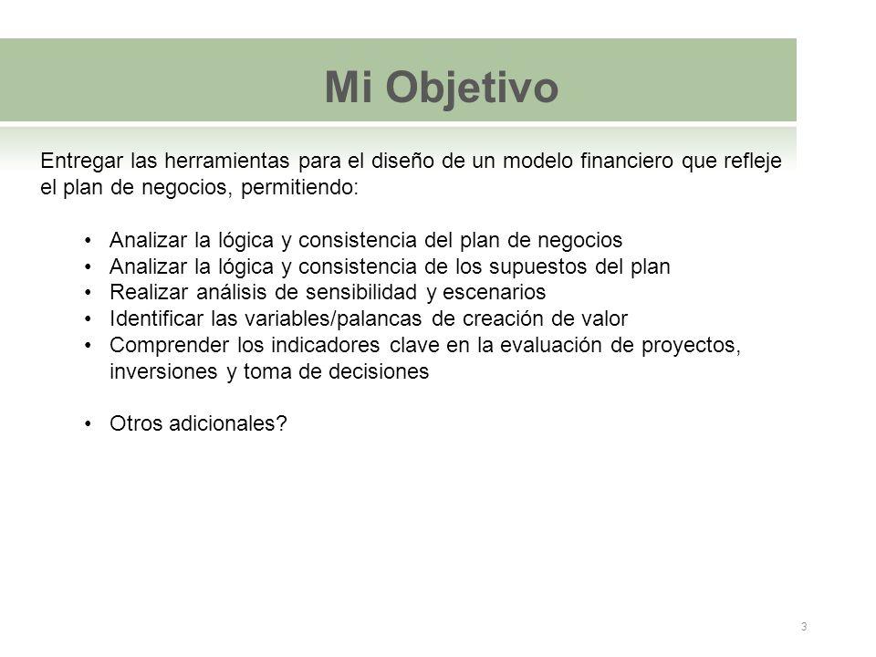 Mi Objetivo Entregar las herramientas para el diseño de un modelo financiero que refleje el plan de negocios, permitiendo: Analizar la lógica y consis