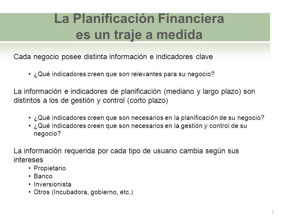 La Planificación Financiera es un traje a medida Cada negocio posee distinta información e indicadores clave ¿Qué indicadores creen que son relevantes