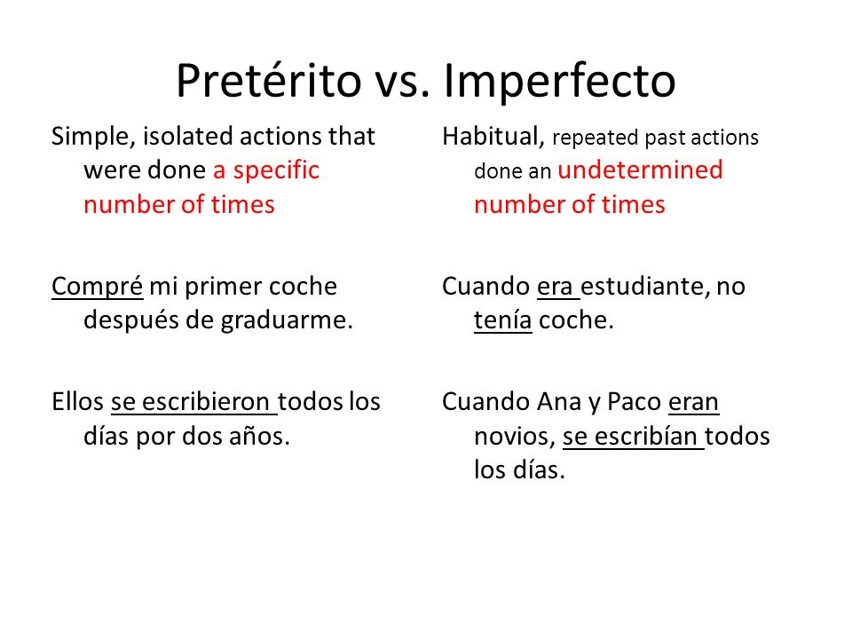 Pretérito vs. Imperfecto Simple, isolated actions that were done a specific number of times Compré mi primer coche después de graduarme. Ellos se escr