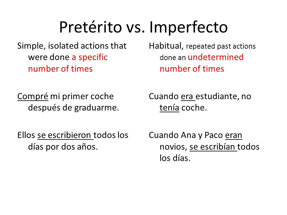 Pretérito Imperfecto Completed past actions (beginning and/or end) Jugué tenis desde las 3 hasta las 5.