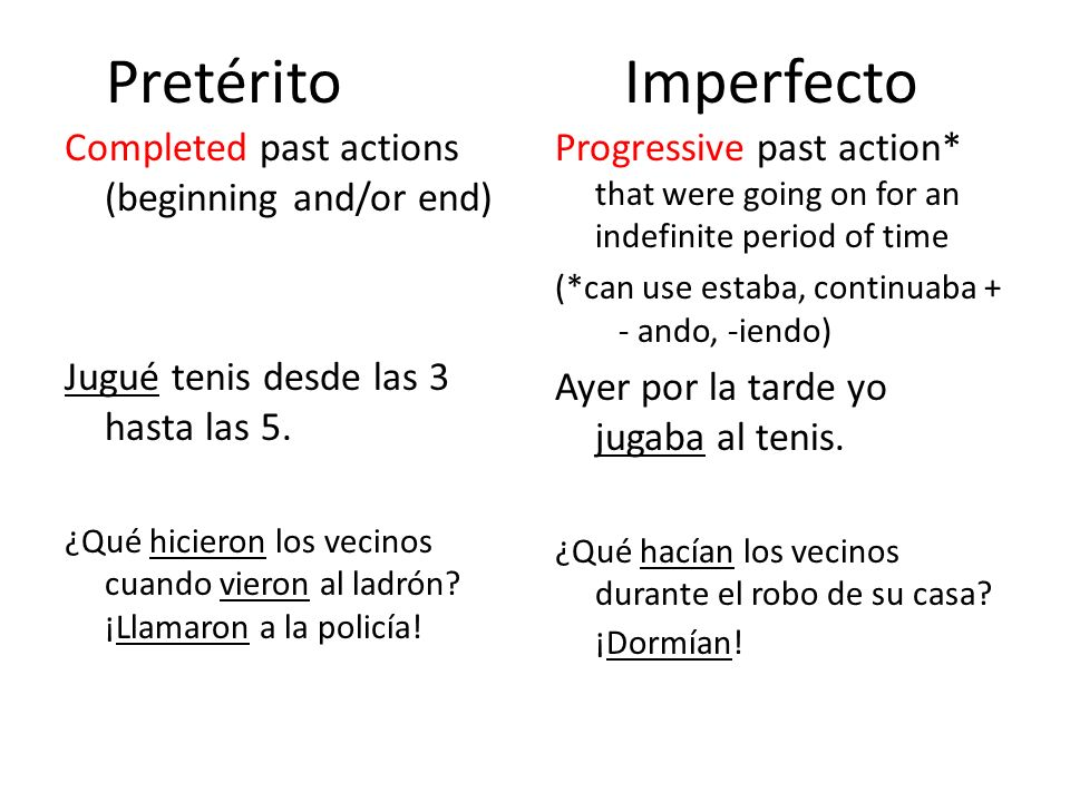 Pretérito Imperfecto Completed past actions (beginning and/or end) Jugué tenis desde las 3 hasta las 5.