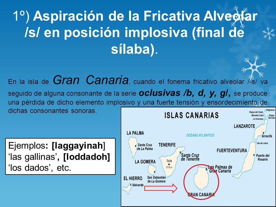 1º) Aspiración de la Fricativa Alveolar /s/ en posición implosiva (final de sílaba). Ejemplos: [laggayinah] las gallinas, [loddadoh] los dados, etc. E