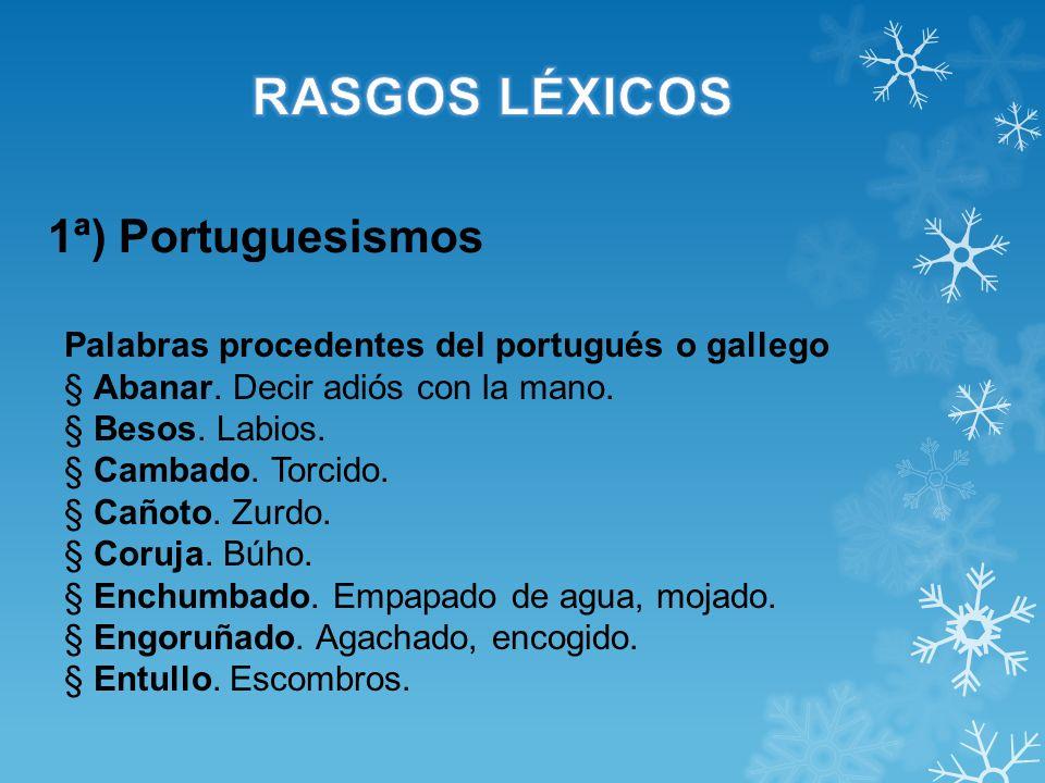 1ª) Portuguesismos Palabras procedentes del portugués o gallego § Abanar. Decir adiós con la mano. § Besos. Labios. § Cambado. Torcido. § Cañoto. Zurd