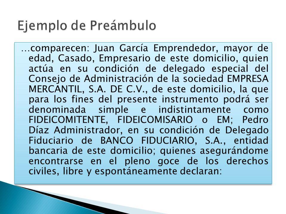 …comparecen: Juan García Emprendedor, mayor de edad, Casado, Empresario de este domicilio, quien actúa en su condición de delegado especial del Consej