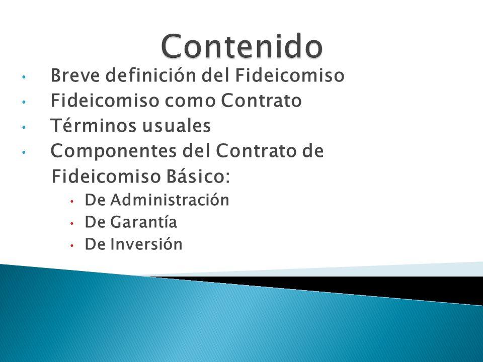 Breve definición del Fideicomiso Fideicomiso como Contrato Términos usuales Componentes del Contrato de Fideicomiso Básico: De Administración De Garan