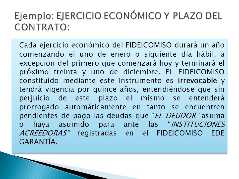 Cada ejercicio económico del FIDEICOMISO durará un año comenzando el uno de enero o siguiente día hábil, a excepción del primero que comenzará hoy y t
