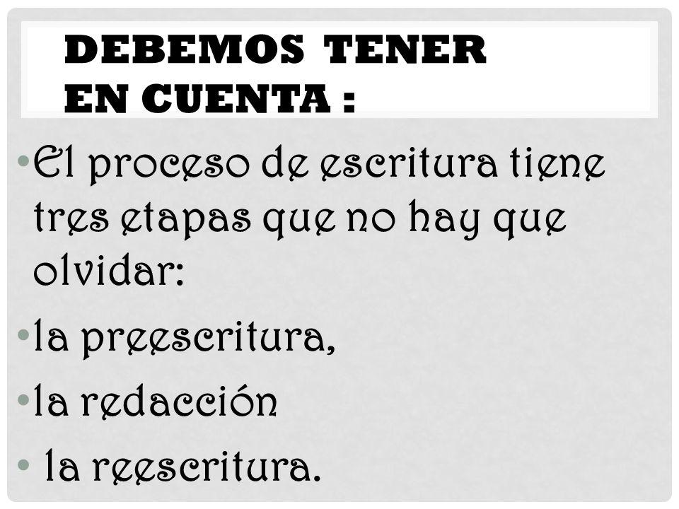 DEBEMOS TENER EN CUENTA : El proceso de escritura tiene tres etapas que no hay que olvidar: la preescritura, la redacción la reescritura.