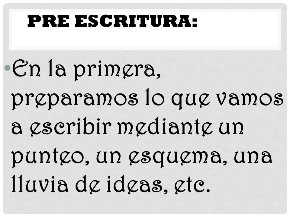En la primera, preparamos lo que vamos a escribir mediante un punteo, un esquema, una lluvia de ideas, etc. PRE ESCRITURA: