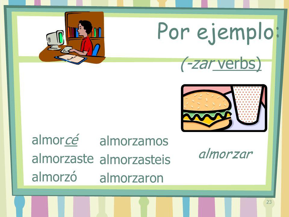 23 (-zar verbs) almorcé almorzaste almorzó almorzamos almorzasteis almorzaron Por ejemplo: almorzar