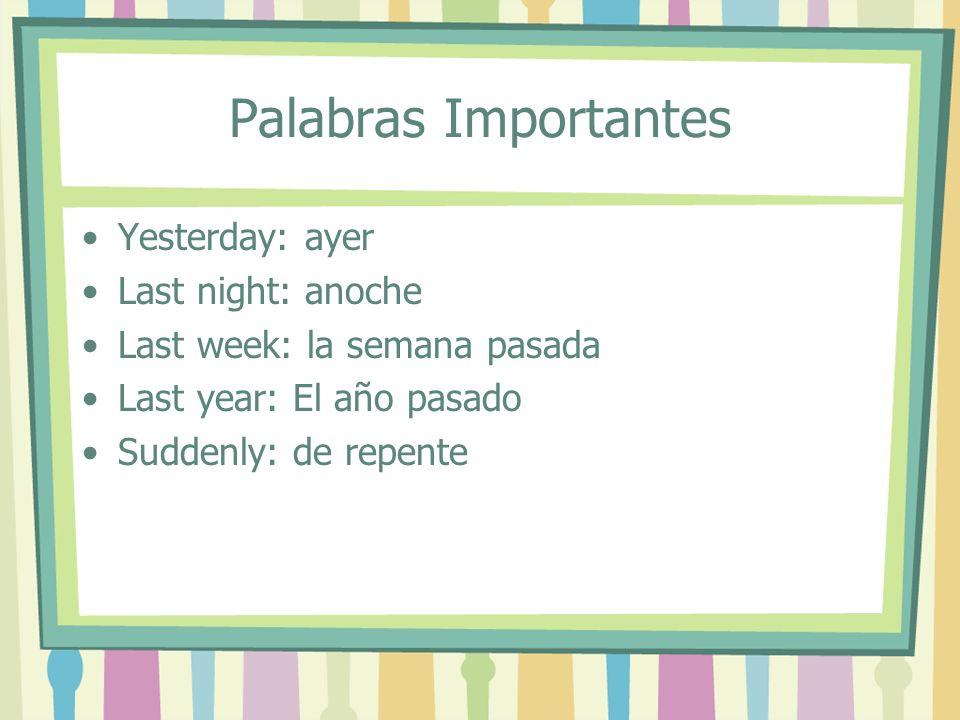 El Pretérito: used to express a completed action in the past AR (Hablar)ER (Comer)IR (Vivir) HabléComíViví HablasteComisteViviste HablóComióVivió HablamosComimosVivimos HablasteisComisteisVivisteis HablaronComieronVivieron