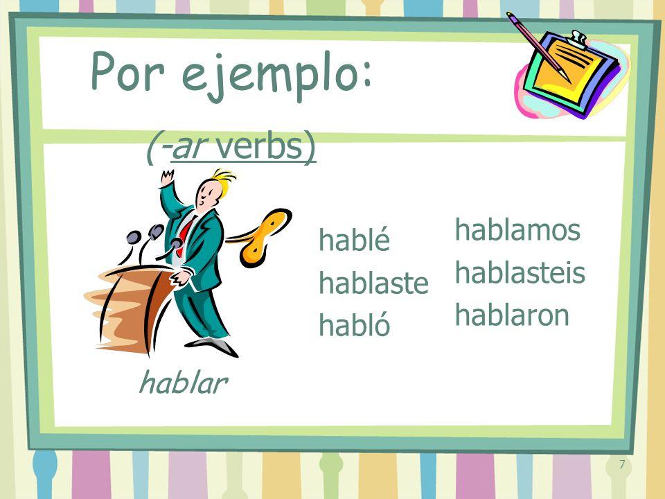 8 (-ar verbs) trabajé trabajaste trabajó trabajamos trabajasteis trabajaron Por ejemplo: trabajar