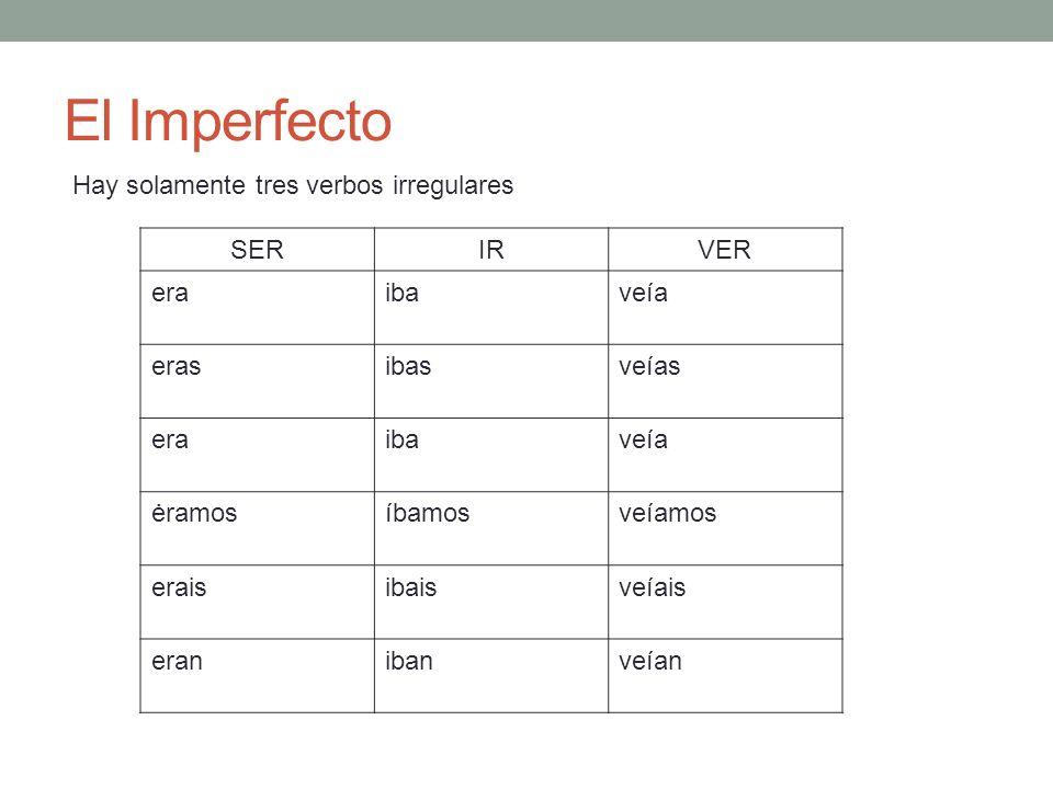 El Imperfecto Hay solamente tres verbos irregulares SERIRVER eraibaveía erasibasveías eraibaveía ėramosíbamosveíamos eraisibaisveíais eranibanveían