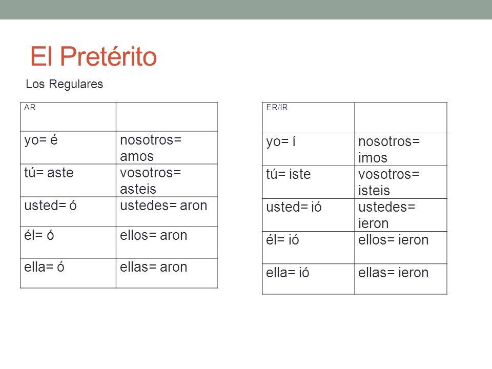 El Pretérito Los Regulares AR yo= énosotros= amos tú= astevosotros= asteis usted= óustedes= aron él= óellos= aron ella= óellas= aron ER/IR yo= ínosotr