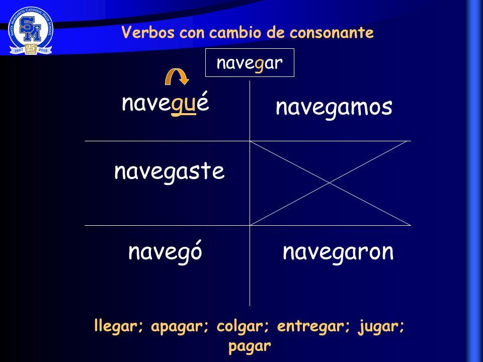 navegué navegaste navegó navegamos navegaron Verbos con cambio de consonante navegar llegar; apagar; colgar; entregar; jugar; pagar