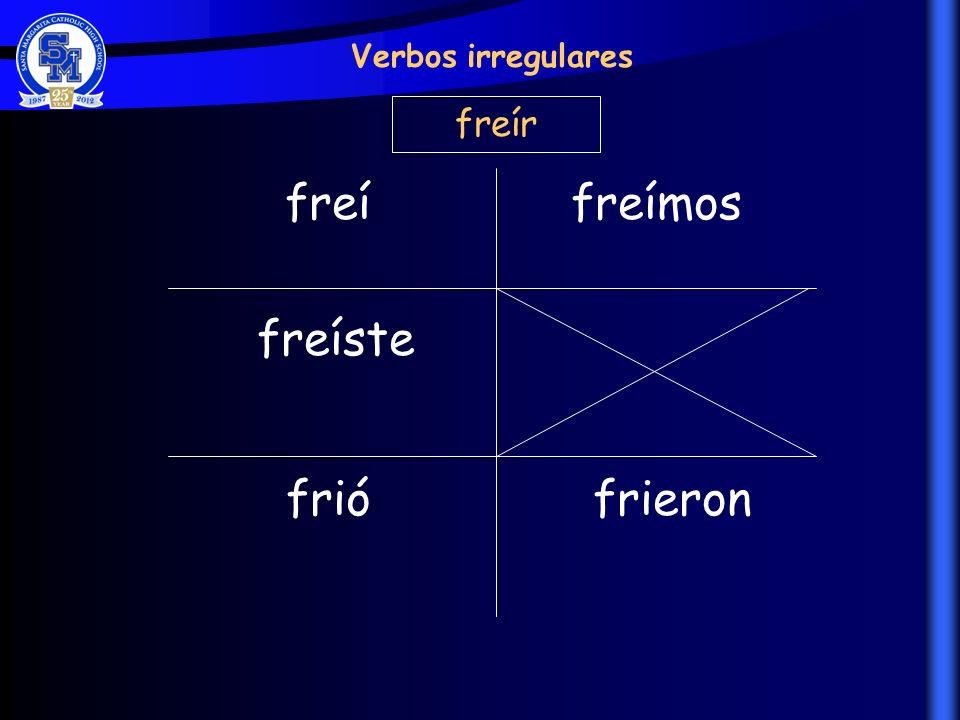 freí freíste frió freímos frieron Verbos irregulares freír