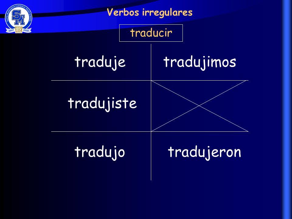 traduje tradujiste tradujo tradujimos tradujeron Verbos irregulares traducir