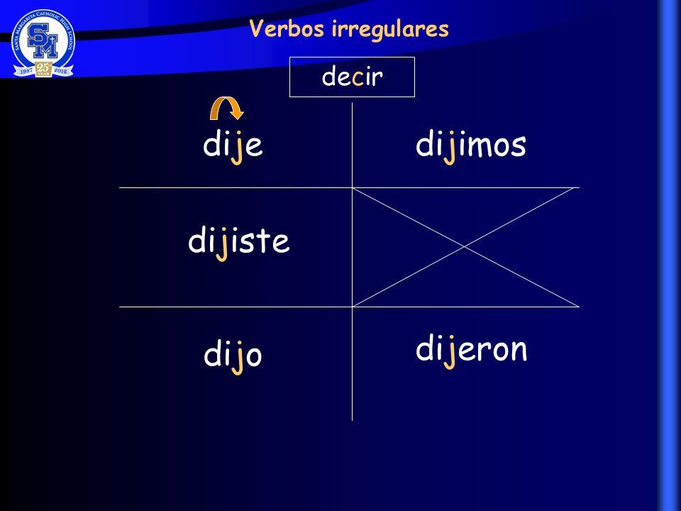 dije dijiste dijo dijimos dijeron Verbos irregulares decir
