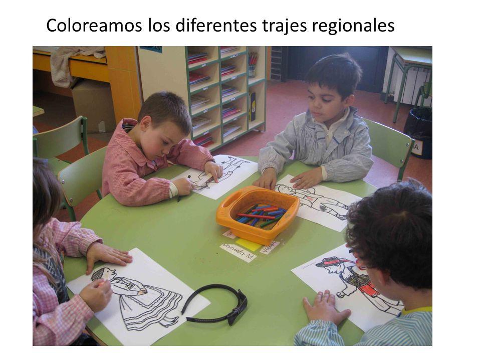 Coloreamos los diferentes trajes regionales