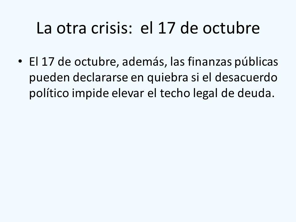La otra crisis: el 17 de octubre El 17 de octubre, además, las finanzas públicas pueden declararse en quiebra si el desacuerdo político impide elevar