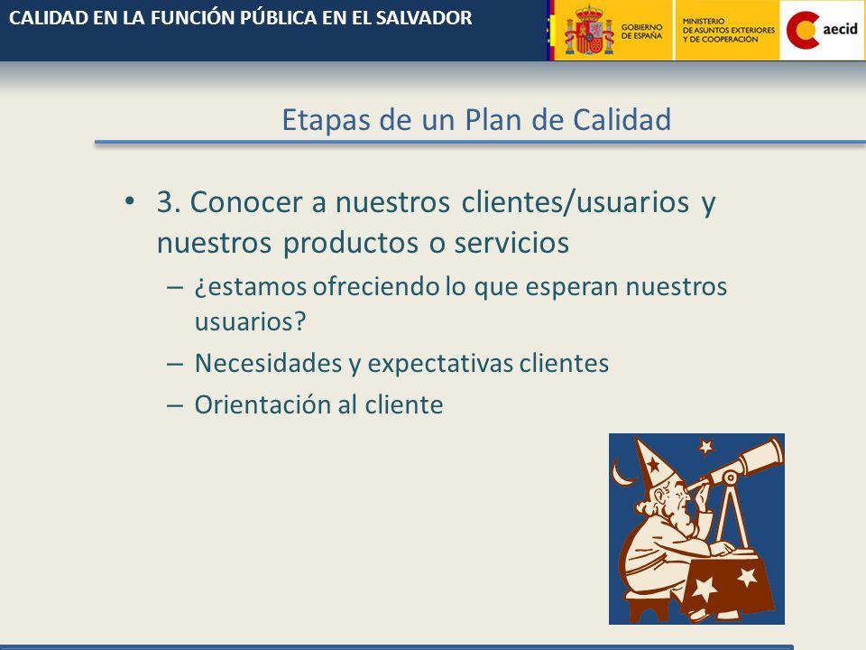 Etapas de un Plan de Calidad 1. Asegurar la implicación de la Dirección – Participación activa, no sólo consentimiento verbal 2. Saber qué es la calid
