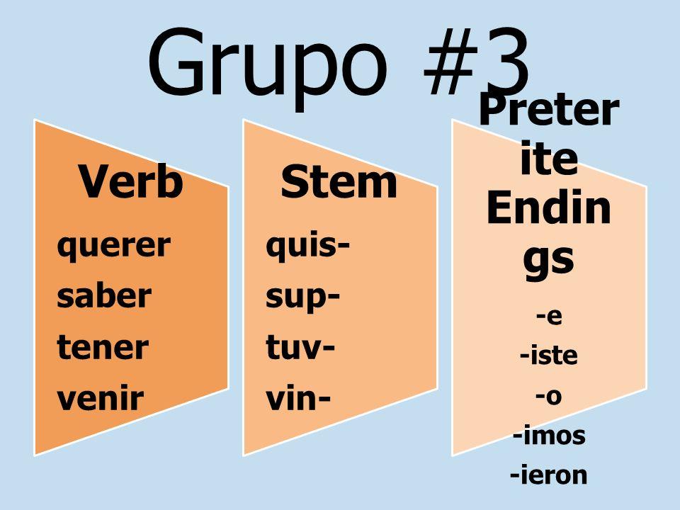 Grupo #3 Verb querer saber tener venir Stem quis- sup- tuv- vin- Preter ite Endin gs -e -iste -o -imos -ieron