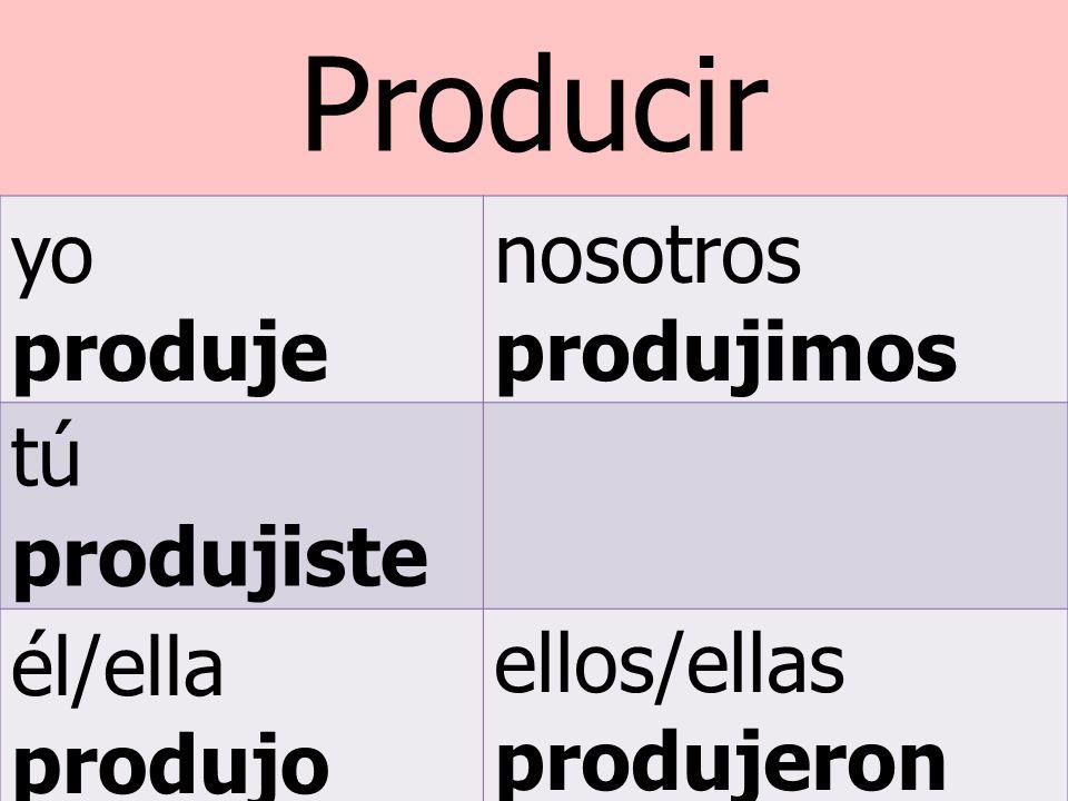 Producir yo produje nosotros produjimos tú produjiste él/ella produjo usted ellos/ellas produjeron ustedes
