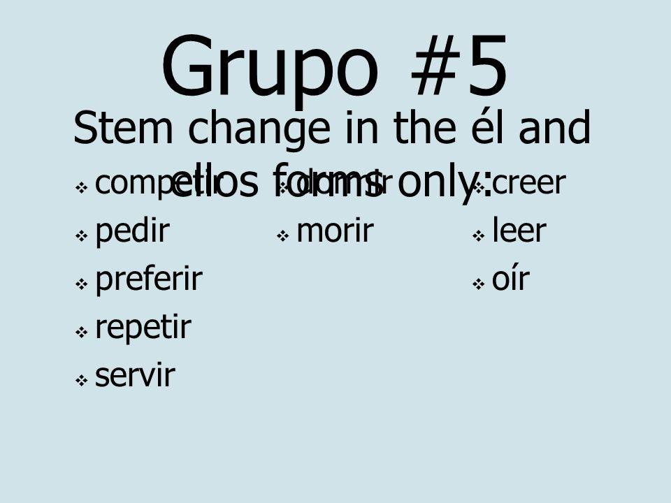 Grupo #5 competir pedir preferir repetir servir Stem change in the él and ellos forms only: dormir morir creer leer oír