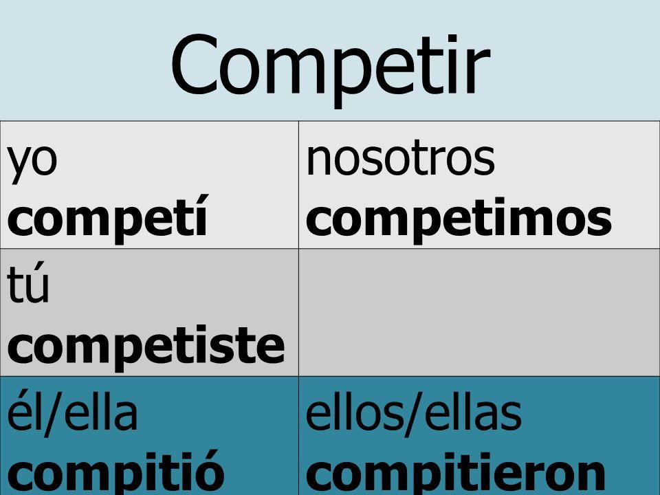 Competir yo competí nosotros competimos tú competiste él/ella compitió usted ellos/ellas compitieron ustedes