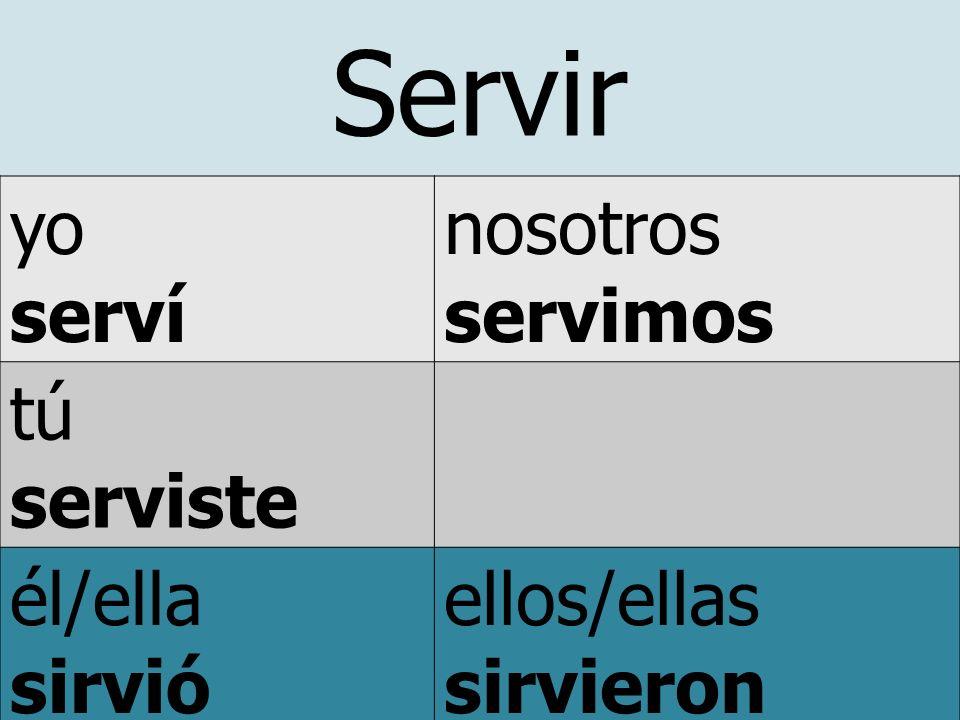 Servir yo serví nosotros servimos tú serviste él/ella sirvió usted ellos/ellas sirvieron ustedes