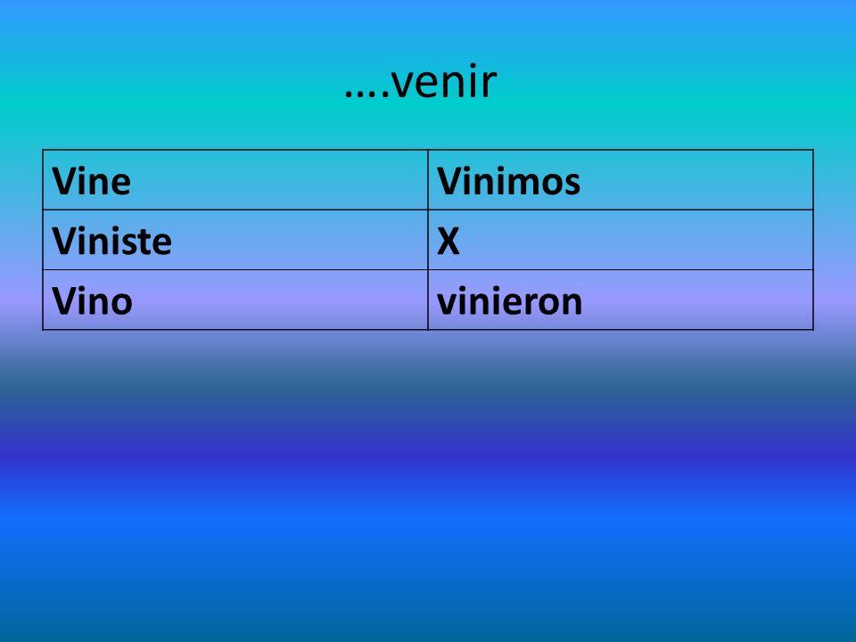 ….venir VineVinimos VinisteX Vinovinieron