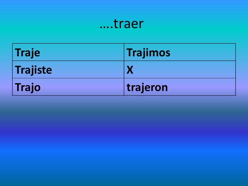 ….traer TrajeTrajimos TrajisteX Trajotrajeron