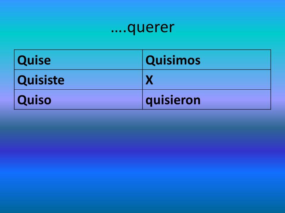….querer QuiseQuisimos QuisisteX Quisoquisieron