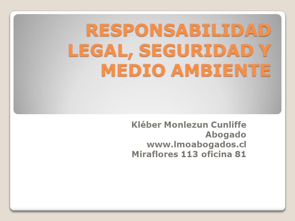 RESPONSABILIDAD LEGAL, SEGURIDAD Y MEDIO AMBIENTE Kléber Monlezun Cunliffe Abogado www.lmoabogados.cl Miraflores 113 oficina 81