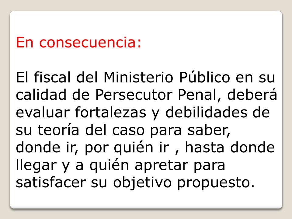 En consecuencia: El fiscal del Ministerio Público en su calidad de Persecutor Penal, deberá evaluar fortalezas y debilidades de su teoría del caso par