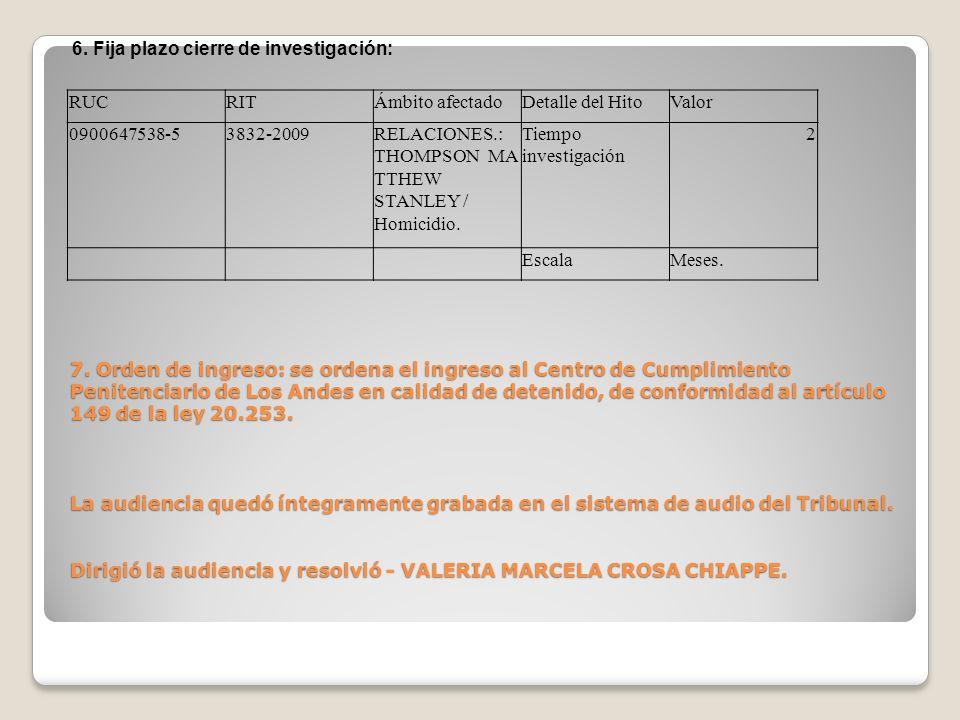 7. Orden de ingreso: se ordena el ingreso al Centro de Cumplimiento Penitenciario de Los Andes en calidad de detenido, de conformidad al artículo 149