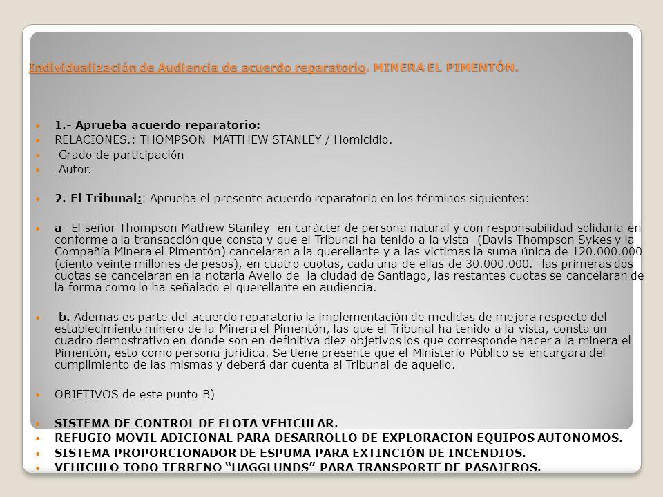 Individualización de Audiencia de acuerdo reparatorio. MINERA EL PIMENTÓN. 1.- Aprueba acuerdo reparatorio: RELACIONES.: THOMPSON MATTHEW STANLEY / Ho