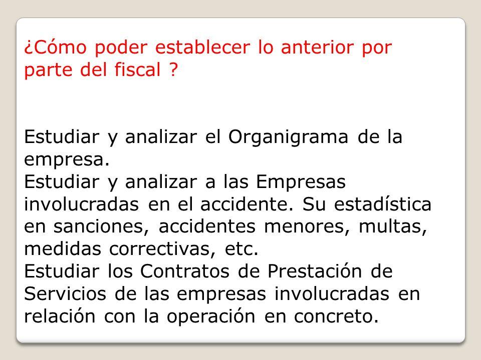 ¿Cómo poder establecer lo anterior por parte del fiscal ? Estudiar y analizar el Organigrama de la empresa. Estudiar y analizar a las Empresas involuc