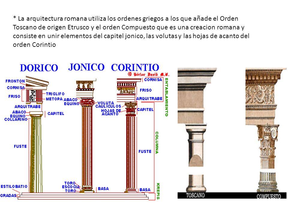 * La arquitectura romana utiliza los ordenes griegos a los que añade el Orden Toscano de origen Etrusco y el orden Compuesto que es una creacion roman
