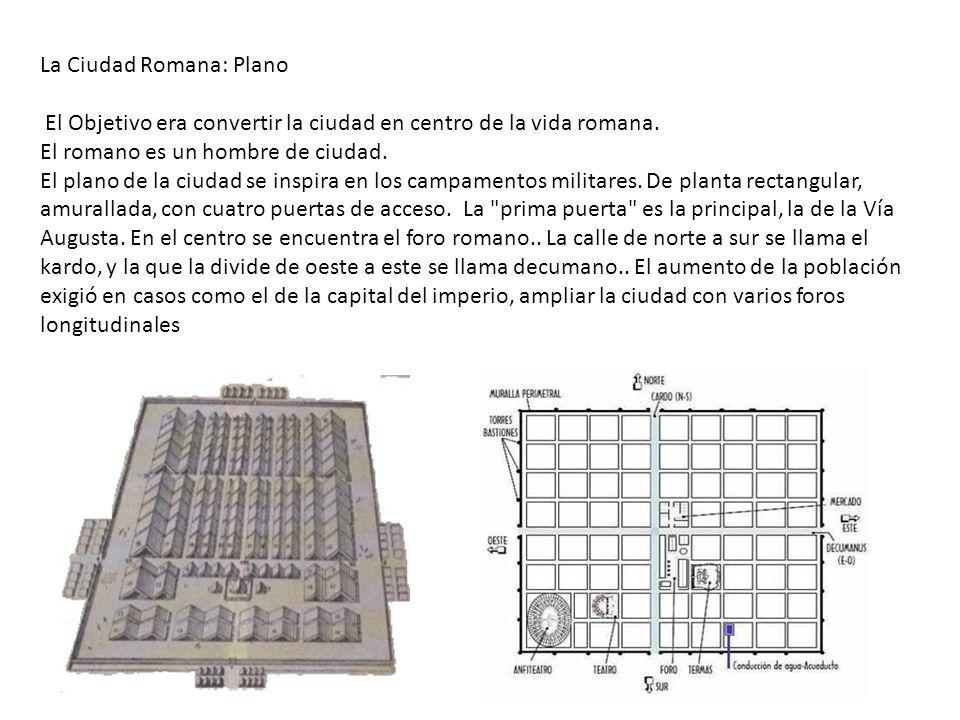 La Ciudad Romana: Plano El Objetivo era convertir la ciudad en centro de la vida romana. El romano es un hombre de ciudad. El plano de la ciudad se in